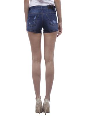 Hash 69 H203  Blue Women Denim Short