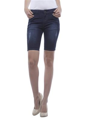 Hash 69 H204  Blue Women Denim Short