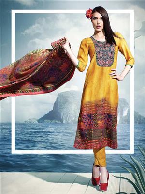 Adda Fashion SH-WR-06-08A Yellow Woolen Suit