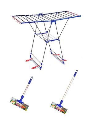 SBI Winsome Stainless Steel Cloth Drying Stand and Bright Stainless Steel Floor Wiper( combo of 1 Fe