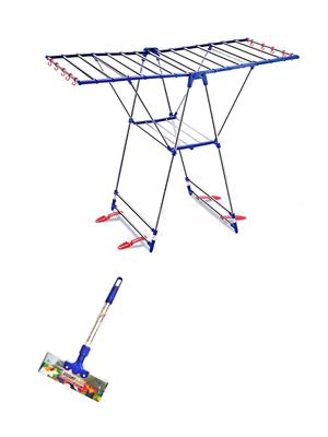 SBI Winsome Stainless Steel Cloth Drying Stand and 1 -1 Feet Bright Stainless Steel Floor Wiper