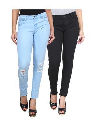 Ansh Fashion Wear Wj-2Cm-Dcut-Black-Blue Women Jeans Set Of 2