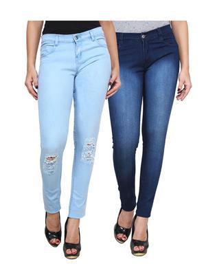 Ansh Fashion Wear Wj-2Cm-Dcut-Dbm Blue Women Jeans Set Of 2