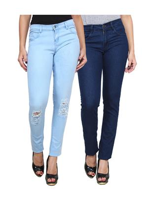 Ansh Fashion Wear Wj-2Cm-Dcut-Db Blue Women Jeans Set Of 2