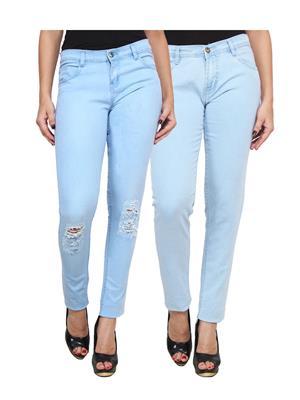 Ansh Fashion Wear Wj-2Cm-Dcut-Lb Blue Women Jeans Set Of 2