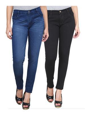 Ansh Fashion Wear WJ-2CM-FANCY-17 Blue-Black Women Jeans Pack Of 2