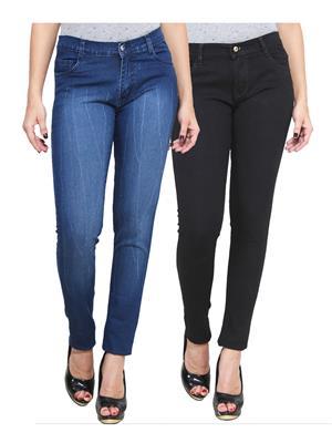 Ansh Fashion Wear WJ-2CM-FANCY-18 Blue-Black Women Jeans Pack Of 2