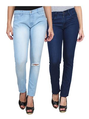 Ansh Fashion Wear WJ-2CM-FANCY-22 Blue Women Jeans Pack Of 2