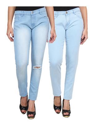 Ansh Fashion Wear WJ-2CM-FANCY-23 Blue Women Jeans Pack Of 2