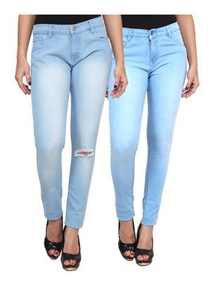Ansh Fashion Wear WJ-2CM-FANCY-24 Blue Women Jeans Pack Of 2
