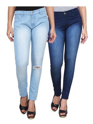 Ansh Fashion Wear WJ-2CM-FANCY-25 Blue Women Jeans Pack Of 2