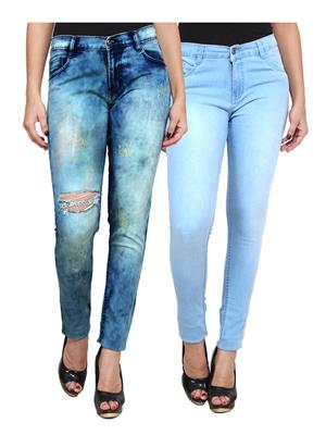 Ansh Fashion Wear WJ-2CM-FANCY-28 Blue Women Jeans Pack Of 2