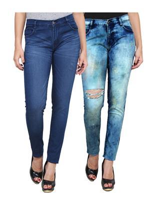 Ansh Fashion Wear WJ-2CM-FANCY-2 Blue Women Jeans Pack Of 2