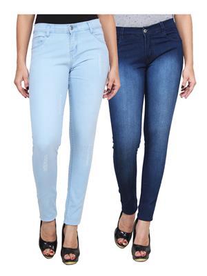 Ansh Fashion Wear WJ-2CM-FANCY-31 Blue Women Jeans Pack Of 2
