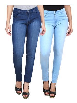 Ansh Fashion Wear WJ-2CM-FANCY-33 Blue Women Jeans Pack Of 2