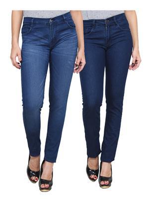 Ansh Fashion Wear WJ-2CM-FANCY-42 Blue Women Jeans Pack Of 2