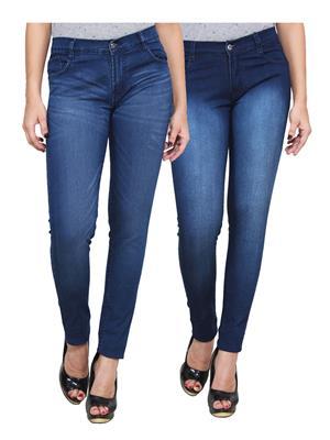 Ansh Fashion Wear WJ-2CM-FANCY-45 Blue Women Jeans Pack Of 2