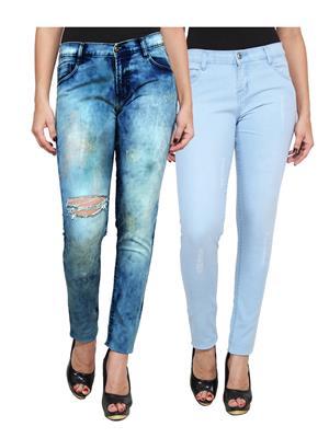 Ansh Fashion Wear WJ-2CM-FANCY-5 Blue Women Jeans Pack Of 2