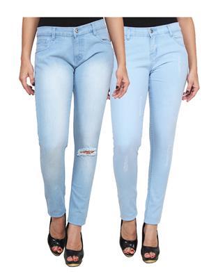 Ansh Fashion Wear WJ-2CM-FANCY-9 Blue Women Jeans Pack Of 2