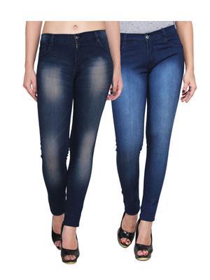Ansh Fashion Wear Wj-2Cm-T1-Dbm Blue Women Jeans Set Of 2