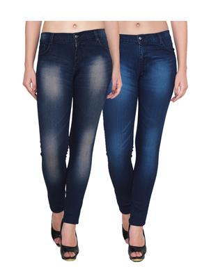 Ansh Fashion Wear Wj-2Cm-T1-T2 Blue Women Jeans Set Of 2