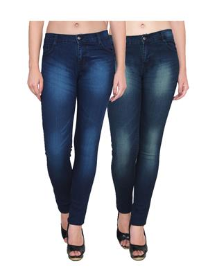 Ansh Fashion Wear Wj-2Cm-T2-T3 Blue Women Jeans Set Of 2