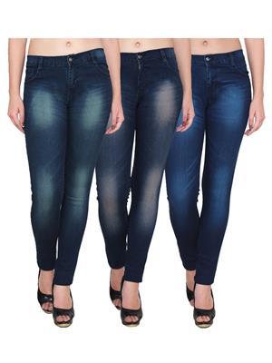 Ansh Fashion Wear Wj-3Cm-T3-T1-T2 Blue Women Jeans Set Of 3