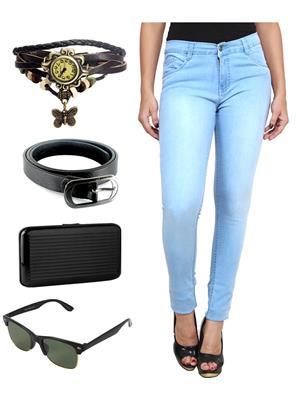 Ansh Fashion Wear WJ-B-LBM-2 Blue Women Jeans With Watch, Belt, Sunglass & Card Holder