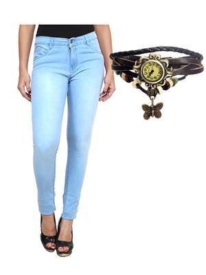 Ansh Fashion Wear Wj-B-Lbm-Rakhi Blue Women Jeans With Watch