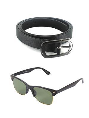 Ansh Fashion Wear Wj-Sun-Half Black Belt & Wayfarer Combo Pack