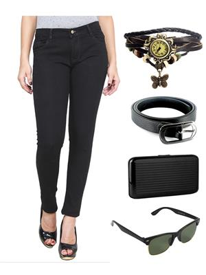 Ansh Fashion Wear WJ-BLK Black Women Jeans With Watch, Belt, Sunglass & Card Holder