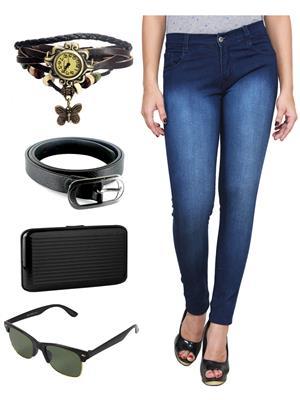 Ansh Fashion Wear WJ-DBM-2 Blue Women Jeans With Watch, Belt, Sunglass & Card Holder