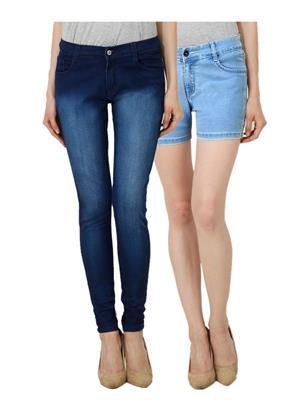 Ansh Fashion Wear WJ-DBM-WS-LB Blue Women Jeans Set Of 2