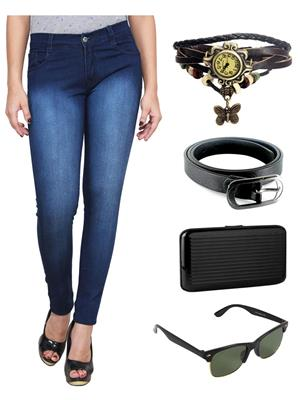 Ansh Fashion Wear WJ-DBMW-2 Blue Women Jeans With Watch, Belt, Sunglass & Card Holder