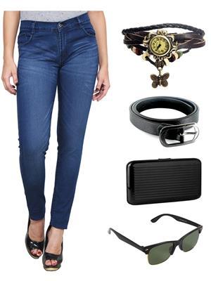 Ansh Fashion Wear WJ-DB Blue Women Jeans With Watch, Belt, Sunglass & Card Holder