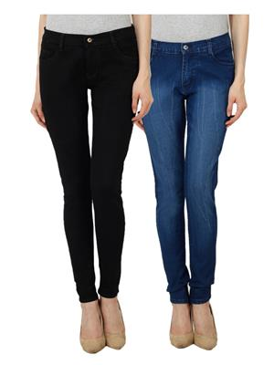 Ansh Fashion Wear Wj-Jen-Black-Dm Blue Women Jeans Set Of 2