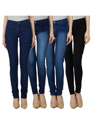 Ansh Fashion Wear WJ-JEN-DB-DBM-DBMW-BLK Blue Women Jeans Set Of 4