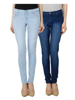Ansh Fashion Wear Wj-Jen-Db-Dm Blue Women Jeans Set Of 2