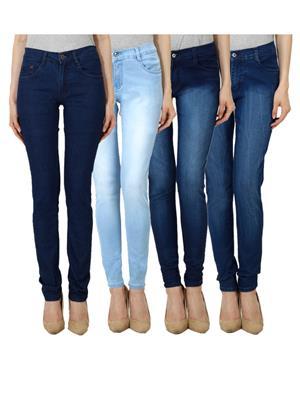 Ansh Fashion Wear WJ-JEN-DB-LBM-DBM-DBMW Blue Women Jeans Set Of 4