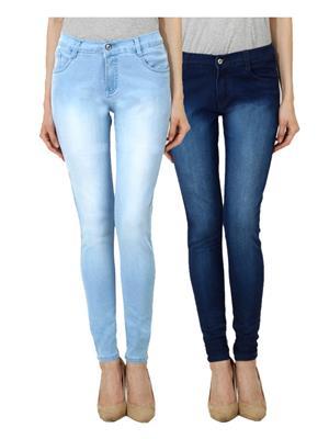 Ansh Fashion Wear Wj-Jen-Dmw-Dm Blue Women Jeans Set Of 2