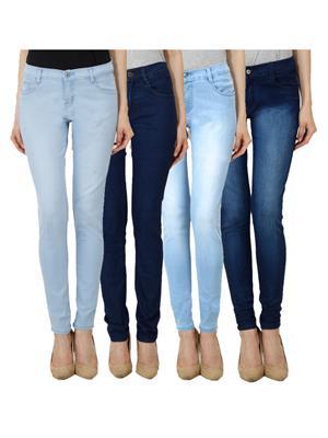 Ansh Fashion Wear WJ-JEN-LB-DB-LBM-DBM Blue Women Jeans Set Of 4