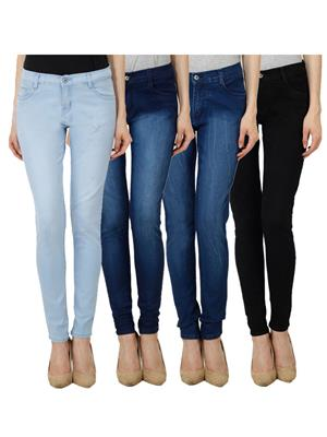 Ansh Fashion Wear WJ-JEN-LB-DBM-DBMW-BLK Blue Women Jeans Set Of 4