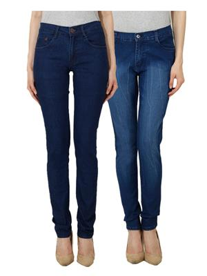 Ansh Fashion Wear Wj-Jen-Lb-DB Blue Women Jeans Set Of 2