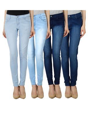 Ansh Fashion Wear WJ-JEN-LB-LBM-DBM-DBMW Blue Women Jeans Set Of 4