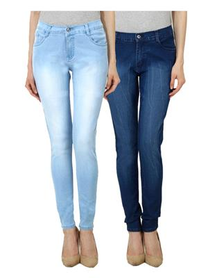 Ansh Fashion Wear Wj-Jen-Lb-Lbm Blue Women Jeans Set Of 2