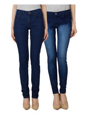 Ansh Fashion Wear Wj-Jen-Lbm-D Blue Women Jeans Set Of 2