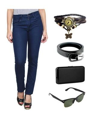 Ansh Fashion Wear WJ-LB-2 Blue Women Jeans With Watch, Belt, Sunglass & Card Holder