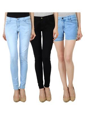 Ansh Fashion Wear WJ-LB-BLK-WS-LB Blue Women Jeans Set Of 3