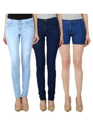 Ansh Fashion Wear WJ-LB-DB-WS-DB Blue Women Jeans Set Of 3