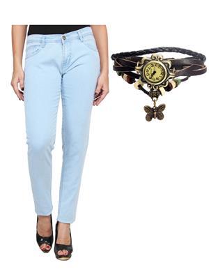 Ansh Fashion Wear Wj-Lb-Rakhi Blue Women Jeans With Watch